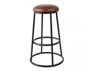Černá kovová barová stolička s koženým sedákem Bob - Ø 42*66 cm