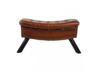 Hnědá kožená lavice Miquel - 91*30*46 cm