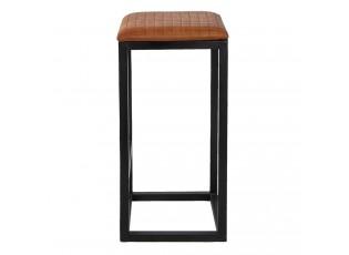 Černá kovová barová stolička s koženým sedákem Mum - 31*31*66 cm
