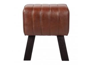 Hnědá kožená stolička / podnožka  - 38*26*48 cm