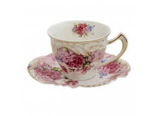 Porcelánový šálek s podšálkem Red Garden  - 12*9*7 / 14*15*1 cm / 200 ml