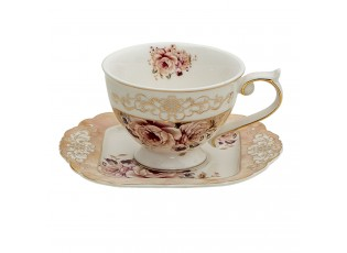 Porcelánový šálek s podšálkem Garden VII - 12*9*7 / 14*15*1 cm / 200 ml