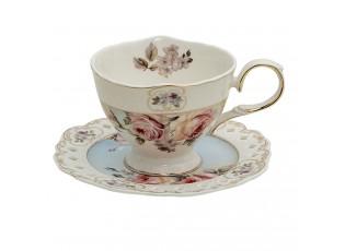 Porcelánový šálek s podšálkem Garden V - 13*10*7 / Ø 15*1 cm / 200 ml