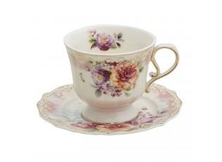 Porcelánový šálek s podšálkem Garden IV - 12*9*8 / Ø 15*1 cm / 200 ml