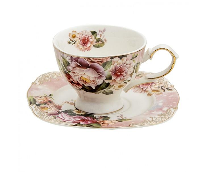 Porcelánový šálek s podšálkem Garden - 12*9*7 / Ø 15*1 cm / 200 ml