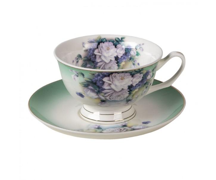 Porcelánový šálek a podšálek Garden IX - 12*10*6 / Ø 15*2 cm / 200 ml