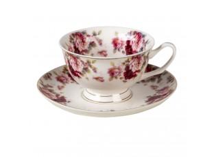 Porcelánový šálek s podšálkem Jules - 12*10*6 / Ø 15*2 cm / 200 ml