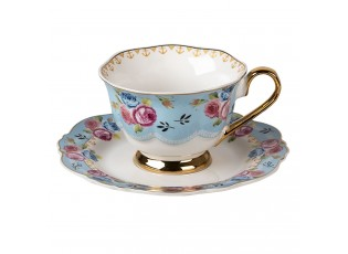 Porcelánový šálek s podšálkem Blue Garden II - 12*9*7 / Ø 15*2 cm / 160 ml