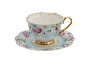 Porcelánový šálek s podšálek Blue Garden - 12*9*7 / Ø 15*2 cm / 160 ml