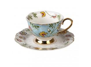 Modrý porcelánový šálek s podšálkem Flower Ori - 12*9*6 / Ø 15*2 cm / 200 ml