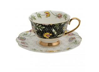 Porcelánový šálek s podšálkem Black Garden - 12*9*6 / Ø 15*2 cm / 200 ml