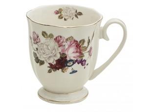 Porcelánový hrnek s květy Flower Sun - 11*8*10 cm / 290 ml