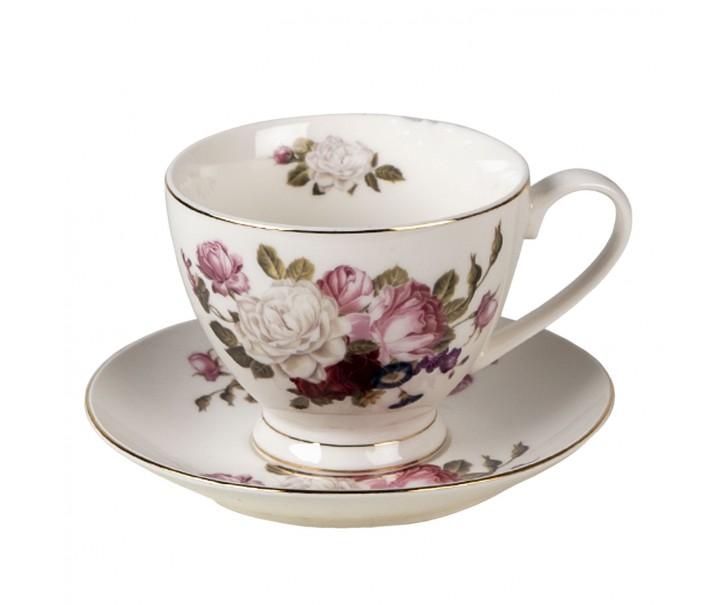 Porcelánový šálek s podšálkem Flower Sun - Ø 13*2 / Ø 8*7 cm / 200 ml