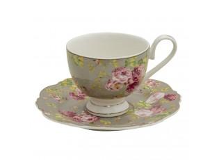 Porcelánový šálek s podšálkem Flowers - Ø 15*2 / 12*8*7 cm / 200 ml