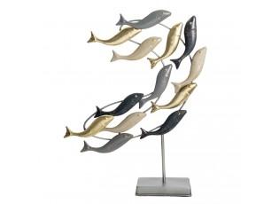 Kovová dekorace ryby na podstavci - 44*9*53 cm