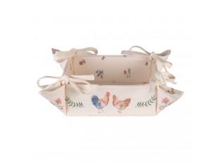 Bavlněný košík na pečivo Chicken and Rooster - 35*35*8 cm