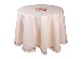 Kulatý bavlněný ubrus s květy Little Rose Collection - Ø 170 cm