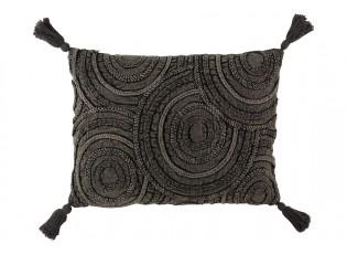 Tmavě šedý polštář se střapci a reliéfem Circle - 60*40 cm