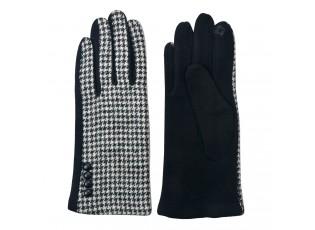 Černé dámské rukavice vzor kohoutí stopa - 8*24cm