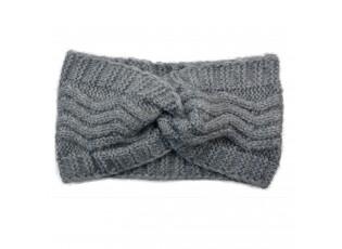 Šedá čelenka s pleteným vzorem - 21*10 cm
