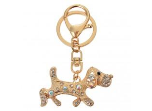 Zlatý kovový přívěsek na klíče jezevčík s kamínky