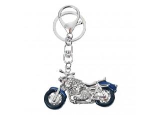Stříbrný kovový přívěsek na klíče motorka