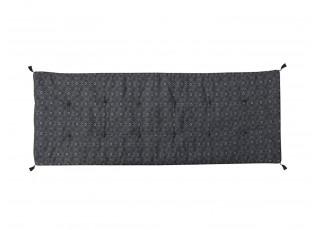 Černý květovaný podsedák s výplní na lavici se střapci Mip - 180*70 cm
