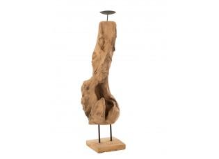 Dřevěný svícen v přírodním tvaru z teakového dřeva Trun M - 15*15*70 cm