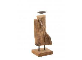 Dřevěný svícen v přírodním tvaru z teakového dřeva Trun S - 15*15*35 cm