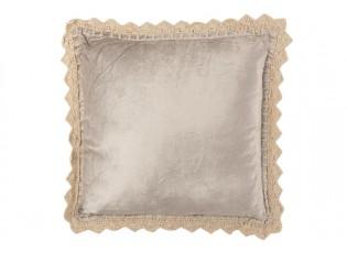 Stříbrný sametový polštář s obháčkovanou krajkou Border - 45*45cm