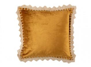 Okrový sametový polštář s háčkovanou krajkou Border - 45*45cm