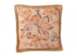 Béžový polštář s listy a hnědým lemem Garden - 49*49cm