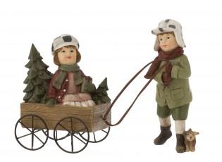 Dekorace děti s vozíkem a psíkem - 25*8*16cm