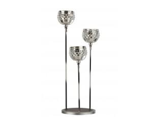 Stříbrný kovový svícen na 3 svíčky se skleněnými svícny - 17*17*44cm