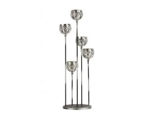 Stříbrný kovový svícen na 5 svíček se skleněnými svícny - 20*20*59cm