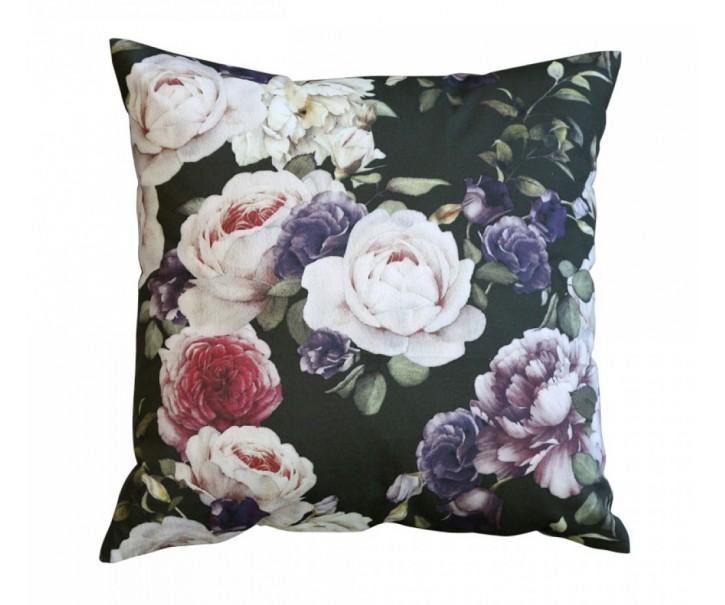 Černý bavlněný polštář s květy Moulin - 50*50cm