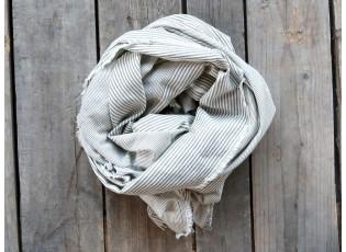 Béžovo-šedý pruhovaný šátek s roztřepeným koncem  - 70*180 cm