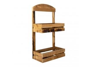 Dřevěný nástěnný policový regál Retro - 40*20*70 cm