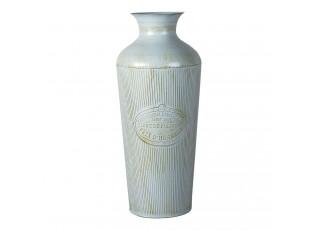 Modrá plechová dekorační váza s patinou Lyon - Ø 22*47 cm
