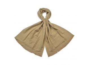 Béžová šála s kapsami - 55*190 cm