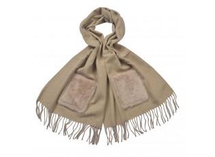 Béžová šála s třásněmi a kapsou - 55*180 cm