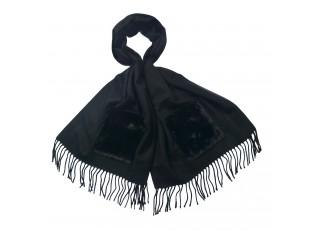 Černá šála s třásněmi a kapsou - 55*180 cm