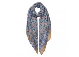 Barevný šátek se vzorem a žlutým okrajem - 90*180 cm