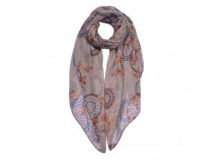 Hnědý šátek se vzorem - 90*180 cm