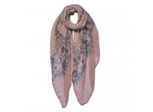 Hnědo-růžový šátek s květy a vzorem - 90*180 cm