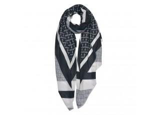 Šedo-černý šátek se vzorem - 85*180 cm