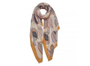 Béžovo-žlutý šátek s listy - 85*180 cm