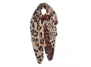 Béžový šátek s leopardím vzorem - 85*180 cm