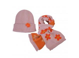 Růžová dětská zimní šála s čepicí