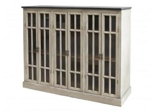 Krémová dřevěná skříň s policemi a prosklenými dveřmi Vabbi - 123*35*100cm